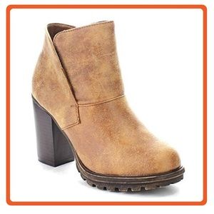 Bamboo Ankle Boot Chunky Heel Distress Faux Fur